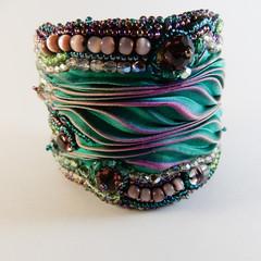 Teal & Pink Shibori Bracelet Cuff
