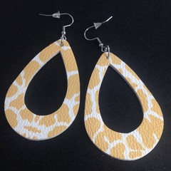 Faux leather yellow & white animal print earrings