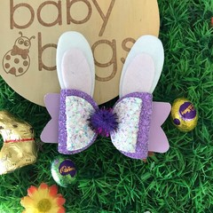 "Purple Glitter Bunny Hair Bow Pink metallic leather 4"" Easter Pom Pom"