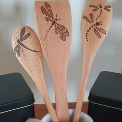 Dragonfly Wood Burnt Kitchen Utensil Set
