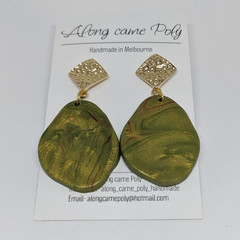 Green with envy geode drop polymer clay earrings