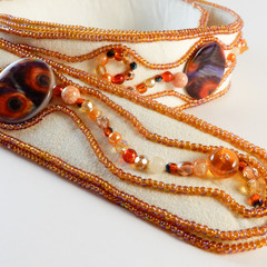 Mostly Orange Beaded Belt