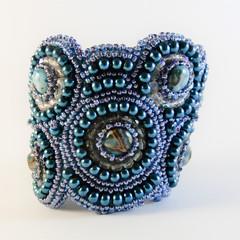 Blue Circles Bracelet Cuff