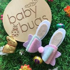 "Pastel Bunny Glitter Hair Bow Pink white 4"" Easter Pom Pom"