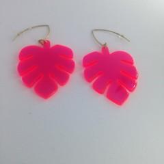 Acrylic neon pink monstera leaf earrings
