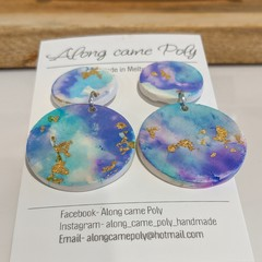 Watercolour, polymer clay drop studs