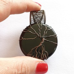 Black Agate Tree of Life Pendant