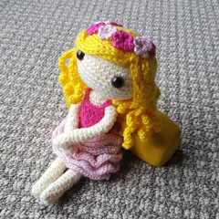 Crochet Doll / Amigurumi / Stuffed Toy / Pink Flower Doll / Girls / Kids Gift