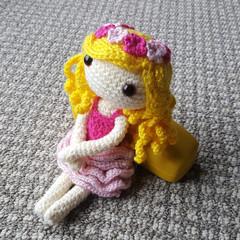 Crochet Doll / Amigurumi / Stuffed Toy / Pink Flower Doll / Girls / Kids Gift