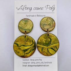 Green with Envy, polymer clay stud drops.