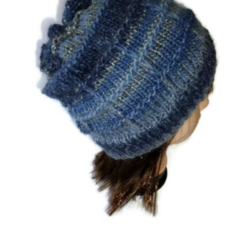 Blue Grey and Silver Knitted Ladies Beanie/Hat