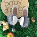 "Grey silver faux fur Bunny Hair Bow metallic leather 4"" Easter"
