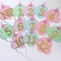 First Birthday Ice Cream Banner. NB-12 Month photo garland. Pastel icecream.