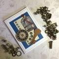 'Caged Birds, Clock and Key'  Steampunk Blank Card
