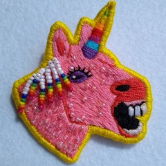 Embroidered Rainbow Unicorn Brooch