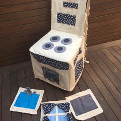 Handmade Kids Play Kitchen Chair Cover - The Switchin' Kitchen - Black & White