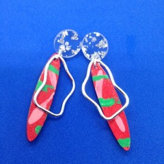 Handpainted green/red/pink earringswith mirror acrylic tops