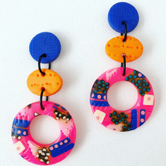 ROWDY - Hot Pink + Electric Blue Stud-Drop Dangles (v)