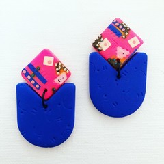 ROWDY - Hot Pink + Electric Blue Stud-Drop Dangles (iv)