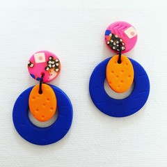ROWDY - Hot Pink + Electric Blue Stud-Drop Dangles (ii)