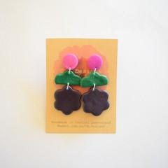 Purple/green/navy 3 piece polymer clay earrings