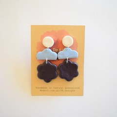white/blue/navy 3 piece polymer clay earrings