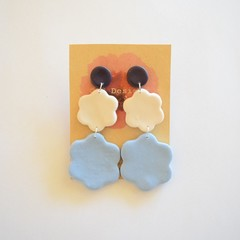 Large 3 piece polymer clay earrings Navy/white/blue