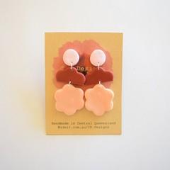 Pink/burgundy/beige 3 piece polymer clay earrings