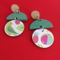 Triple layer tropical print  earrings