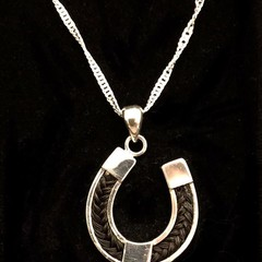 Sterling Silver Horseshoe Pendant with your horse hair