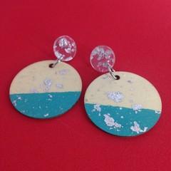 Handpainted wooden turquoise & silver leaf earrings