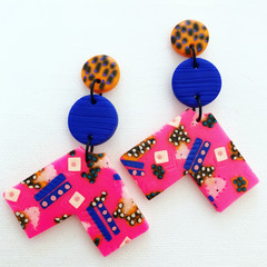 ROWDY - Hot Pink + Electric Blue Stud-Drop Dangles (vii)
