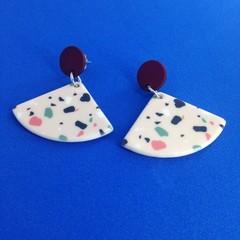 Acrylic triangle terazzo earrings
