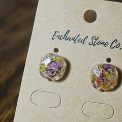 Cushion-Cut Floral Earrings