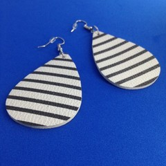 Faux leather white with black stripes  earriings