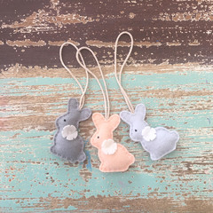 bunny tag, choose colours, felt hair clip, purple, pink, blue, mint