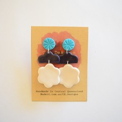 Teal/navy/white 3 piece polymer clay earrings