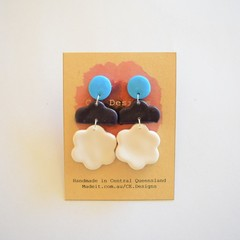 Blue/navy/white 3 piece polymer clay earrings