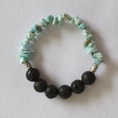 Larimar and Lava Stone Bracelet