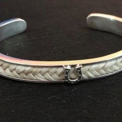 Sterling Silver Horseshoe Bracelet,  with your horses hair