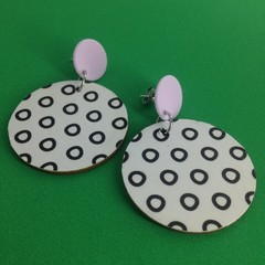 White with black circles disc earrings