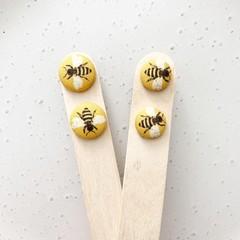 Honey Bee Fabric Stud Earrings