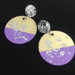 Handpainted wooden lilac & silver leaf earrings