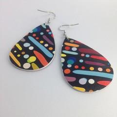 Faux leather multi-color splotch  earriings