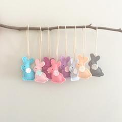 bunny tag, choose colours, felt, purple, pink, blue, mint