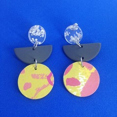 Triple layer grey crescent/pink & yellow print earrings
