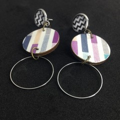 Triple layer print/silver circle earrings