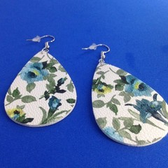 Faux leather white/grey/blue/green/black floral  earriings
