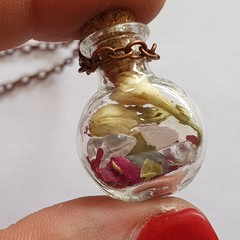 Crystal and Botanical Mini Wish Jar Necklace