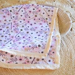 Cotton lace baby keepsake blanket / throw - Manuka blossom